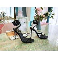 design snake summer sandals for girls 21ss cross strap ladies high heeled pumps wedding dress sandal cutout crystals fashion studs women walking runway cool slides