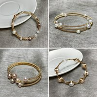 Bangle Luxury Gold Color Natural Freshwater Pearls Open Cuff Adjustable Bracelet Simple Design Women Girls Gift Jewelry