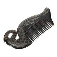 Saç fırçaları 1 adet premium öküz boynuz tarak daha düz pratik (siyah)