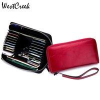Brieftaschen Westcreek Marke RFID Echtes Leder Armband Frauen Kartenhalter Reißverschluss Lange Brieftasche Kupplungsbeutel Männer Öl Wachs Telefon Geldbörse