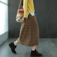 Skirts Blended Jacquard Knitted Skirt Early Autumn Style Retro Loose Wild Elastic Waist