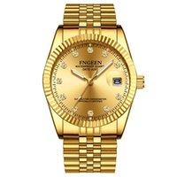 Relógios de pulso fngeen 7008 casal de ouro relógio modelos explosão à prova d 'água de aço inoxidável moda estudante empresarial presente