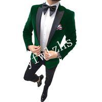 Handsome Velveteen Groomsmen Peak Lapel Groom Tuxedos Man's Suits Wedding Prom Dinner Man Blazer(Jacket+Pants+Tie) K580