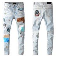 21SS Najnowsze Listing Designer Męskie Dżinsy Szare Mężczyźni Ripped Niszczone Rozciągnięcie Denim Slim-Leg Fit Hip Top Motorcycle Haft Spodnie W28-40