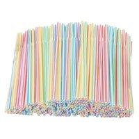 100/200 pezzi flessibile paglie monouso paglie di plastica a strisce colorate bevendo per la casa di compleanno di nozze party accessori bar