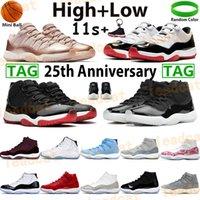 Basketbol Ayakkabıları Yüksek 11 11s Erkekler Sneakers Jubilee 25th Avviversary Bred Serin Gri Kap ve Elbise Pantone Düşük Beyaz Concord Legend Mavi Eğitmenler