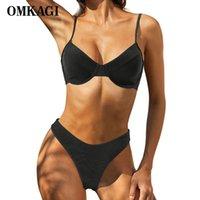 Maillot de bain pour femmes Omkagi Maillot de bain Femme Summer Femelle Suit Biquin Solid Solid Sexy Push Up Brésilien 2021 Bikinis