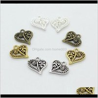Findings & Components Drop Delivery 2021 Flower Pattern Heart Charms Zinc Alloy Sier Gold Floating Charm For Lockets Vintage Pendants Jewelry
