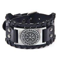 Charm Bracelets Trendy Punk Design Wide Bangle Nordic Viking Designer Compass Bracelet For Men Leather Weave Adjustable Jewelry
