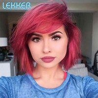 Lace Wigs Lekker Short Straight Bob T Part Front Human Hair Wig For Women Natural Dark Brazilian Remy Burgundy Red Glueless Color