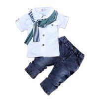Baby Boy Одежда Повседневная футболка + Шарф + Джинсы 3 шт. Детская одежда Установлена Летние Ребенок Детский Костюм для мальчиков Малыш Мальчики Одежда 130 Q2