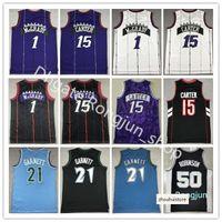 Mitchell und Ness Basketball Alonzo Trauerjersey 33 Larry Johnson 2 Tyrone Muggsy Bogues 1 Kevin Garnett 21 Vince 15 Carter Tracy McGrady Vintage genäht