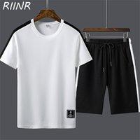 Riinr 2021 летние короткие рукава свободные сплошные цветные футболки повседневный спортивный костюм мужские модные шорты костюм XL-4XL