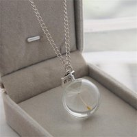 Pendant Necklaces Creative Handmade DIY Spherical Glass Bottle Long Sweater Chain Dandelion Necklace Essential For Going Out