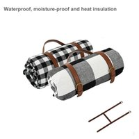 Outdoor Pads Spot Waterproof Picnic Blanket Plaid Printing Folding Camping Mat Thick Leather Straps Moisture-proof Cloth