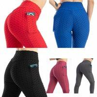Kadın Yüksek Bel Yoga Butt Asansör Tayt Kabarcık Pantolon Cepler Ile Karın Kontrol Zayıflama Dokulu Ganimet Koşu Egzersiz Dantelli H3BB #