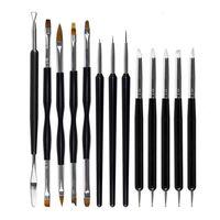 Morceaux Nail Art Brush Ensemble pour détaillant Striping Blending Stylos Peinture Pinceaux Pinceaux 3D Tool Dotting Fan Kits