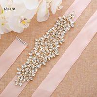Wedding Sashes Gold Bridal Belt Crystal WeGold Thin Rhinestones Dress Sash For Bridesmaid ZZY205G