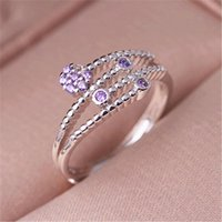 Cluster Rings Fashion Silver Color Female Ring Temperament Love Rose Inlaid Zircon Opening Hand Jewelry