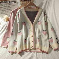 Único a unión dulce melocotón estampado suéter coreano prendas de punto coreano recortado cuello en v manga larga guía suelto séter ropa mujer 7A899