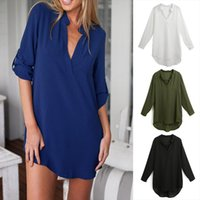 Spring Summer 5xl Plus Size Women Blouses Chiffon V Neck Pockets Long Sleeves Blouse White Loose Casual Top Woman Shirt