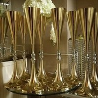 Vazolar 10 adet Satış 69 cm Yüksek Düğün Altın Şamdan Merkezi Satış Yudao1197