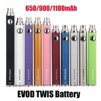 Evod Twistバッテリー可変電圧調整可能3.3~4.8V 650mAh 900mAh 1300mAh USB充電器スリムな蒸気ペン510スレッドMT3 CE4 CE5 CE6アトマイザータンク
