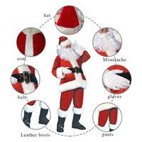 7PCs Adult Santa Claus Costume Flannel Classic Suit Christmas Cosplay Props Men Coat Pants Beard Belt Hat Christmas dsf0844