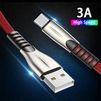Titanyum Alaşım Yüksek Hızlı 3A USB Kablosu Hızlı Şarj Mikro USB Tipi C Şarj Kabloları 1 M 2 M 3 M Samsung LG Android Telefon için Düz Veri Hattı Kablosu MQ100