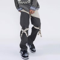 Knee Lace Up Pants Straight Casual Trousers Men Women High Street Pockets Loose Cargo