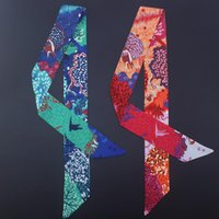 Scarves Design Silk Ribbon Birds Print Women Scarf Handle Bag Ribbons Female Headband Long And Wraps