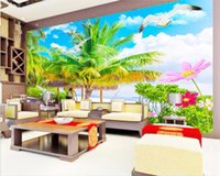 Wallpapers Custom Mural Po 3d Wallpaper Seaside Green Coconut Tree Flowers Scenery Painting Wall Murals For Walls 3 D