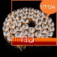 14k oro 1 riga 4mm 6mm 8mm 10mm Simulato Lab Diamond Diamond Out ICED Tennis Hip Hop Tondo ZirconiaTenna Catena Collana
