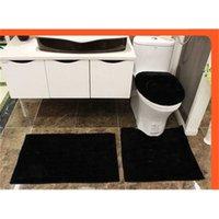 4PCS noir acrylique salle de bain sellette de siège de toilette soft baignoire tapis de sol