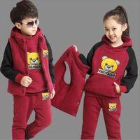 Boy Girls Winter Set Child Sports Thick Fleece Hoodies Pants Vest 3pcs Sets Childrens Clothing Sweatshirts Casual Suits
