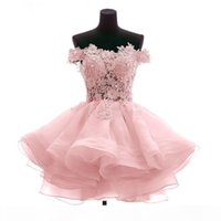 2019 fora do ombro vestido de cocktail curta cortos flores artesanal orgânica vestidos de festa de baile quente
