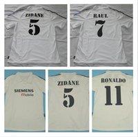 100 años 1902 Retro Fútbol Jersey 2001 2002 2003 Zidane Figo Raul Ronaldo Real Madrid Camisa de Fútbol 01 02 03 Vintage 100th Top Quality Wit