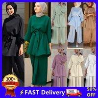 Ethnic Clothing Eid Mubarek Abaya Turkey Hijab Two-piece Muslim Sets Dress Caftan Kaftans Islamic Abayas For Women Musulman Ensembles