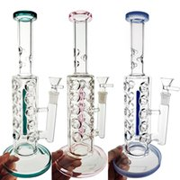 11-Zoll-Hukahn-Glas-Bong Inline-Perc-Bong-Bongs 14mm weibliches gerades Röhrchen-Öl-DAB-Rig-Fab-Ei-Wasser-Rohre 5 Farben