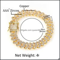 Link, Jewelry12Mm Wide Hip Hop Cubic Zirconia Paved Bing Iced Out Square Cuban Miami Link Chain Bracelets For Men Women Rapper Jewelry Drop