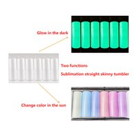 UV color changing magical tumblers GLOWING in the dark DIY 20oz STRAIGHT sublimation two functions skinny tumbler insulate mugs with plastic lid and straw