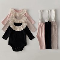 Clothing Sets 2 Pcs Born Baby Girl Clothes Infant Outfits Autumn Spring Romper + Overall Pants
