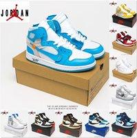 [Box 포함] Air Jordan 1 4 Jordans x Off-White shoes 고품질 조인트 이름 새로운 점프 맨 1 농구 신발 유니온 4 신발 남성과 여성의 핑크 블루 OW UNC 시카고 스니커즈