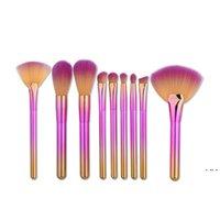 Fundação do fã arco-íris pó pó Eyeliner Depõe Escovas Definir Pincel de Maquiagem Profissional Kit HWB6334