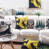 Cushion Decorative Pillow !fashion Deer Forest Letter Quare Throw Pillow almofadas Case 45 53 30x50,trend Scenery Cushion Cover Home Decore