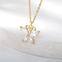 Pendant Necklaces Cubic Zirconia Necklace For Women Metal Gold Chain Butterfly Pendants 2021 Trendy Choker Korean Fashion Couple Jewerly