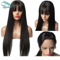 Straight Lace Front Front Human Hair Perücken Mit Pony Virgin Brazilian Lace Front Perücken Pony Preped Für schwarze Frauen mit Babyhaar