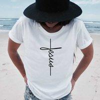 Вера футболки Cross Иисуса Tee Tees Tops Christian рубашка женская мода футболка крещение крещение невеста эстетическая Tumblr футболка X0628