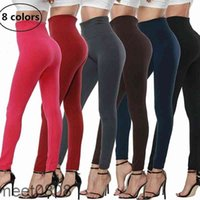 Yoga Outfit Autumn And Winter Brushed Thin Velvet Nine-point Leggings Women's Outer Wear High-waist Seamless Integrated Thermal Pants 8 colors meet0808