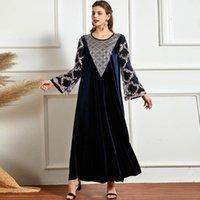 Vestidos casuais inverno mulheres vestido longo vestido solto de veludo plus tamanho 4xl floral bordado malha manga completa muçulmano abaya craftan peru modéstia